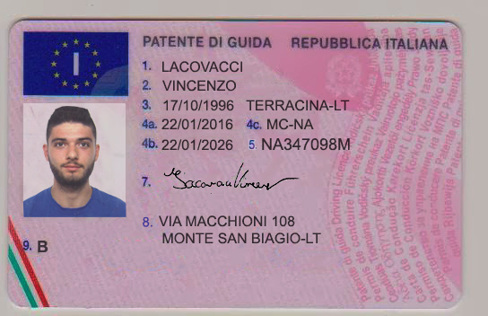 Novelty - Driver's Italy Best License Documents