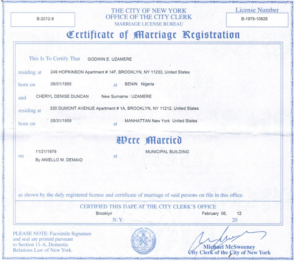 New York Marriage Certificate Best Novelty Documents
