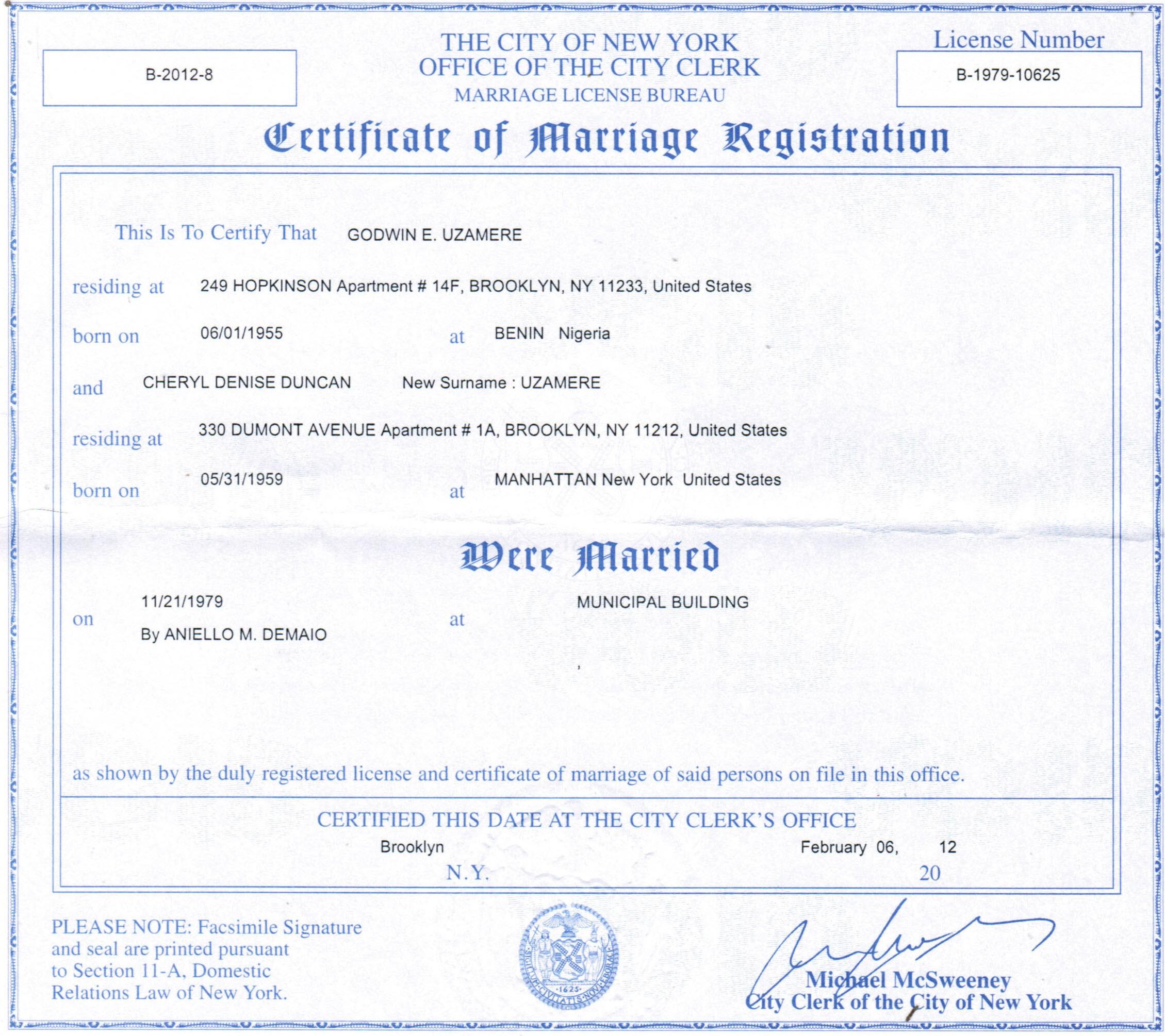 Copy Of Divorce Certificate: New York Marriage Certificate