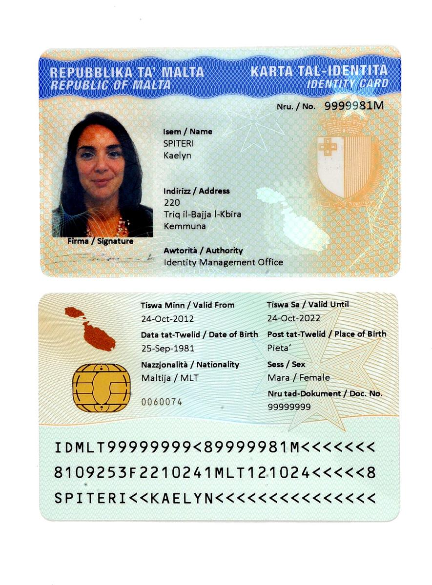 Best Maltese National Documents Novelty Identity - Card