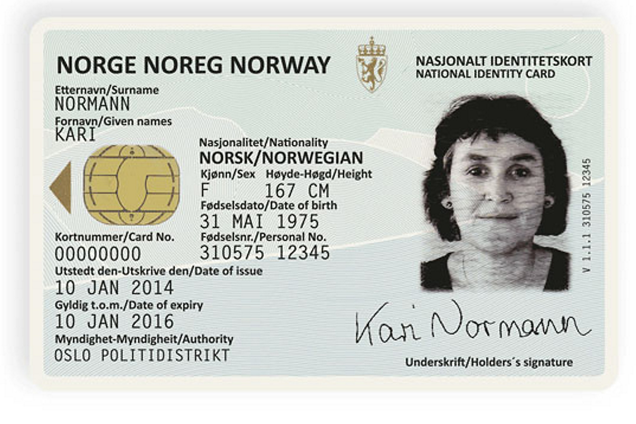 Documents - Novelty Norwegian Card Best Identity